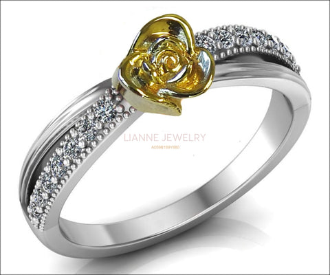 Yellow Rose Engagement Ring Two Tone Yellow & White Flower Ring Leaves Ring Art Nouveau Floral ring Birthday Gift For Her Gift - Lianne Jewelry