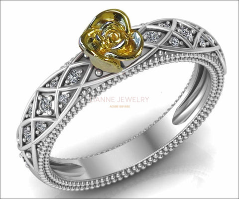 Birthday Gift Back to school Filigree Ring Yellow Minimalist Flower Ring in 18K White Gold Milgrain Floral ring Birthday Gift For Her - Lianne Jewelry