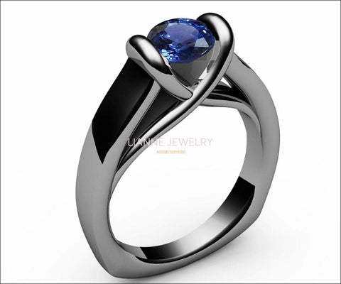 Sapphire Ring Unique Engagement Ring Solitaire Ring Bar setting Tension Heavy Ring 18K White gold - Lianne Jewelry
