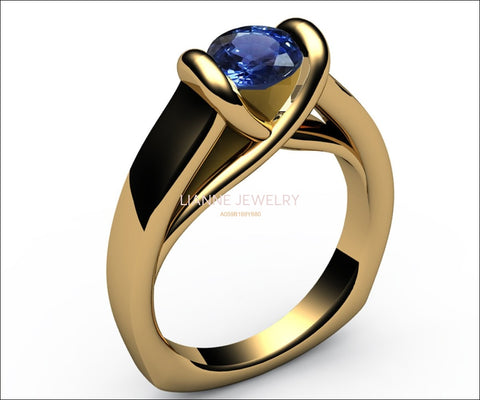 Sapphire Ring Unique Engagement Ring Solitaire Ring Bar setting Tension Heavy Ring 18K Yellow Gold as Gift for Christmas for Her - Lianne Jewelry