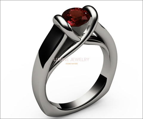 Ruby Ring Unique Engagement Ring Solitaire Ring Bar setting Tension Heavy Ring 18K White gold For Her as - Lianne Jewelry