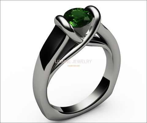 Emerald Ring Vintage Solitaire Ring Chatham Emerald Bar setting Tension Heavy Ring 18K White gold For Her as Christmas Gift - Lianne Jewelry