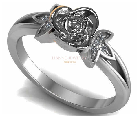Silver Love Ring Flower Ring Promise Ring Unique Engagement Ring with Side Diamonds Floral ring Birthday Gift For Her - Lianne Jewelry