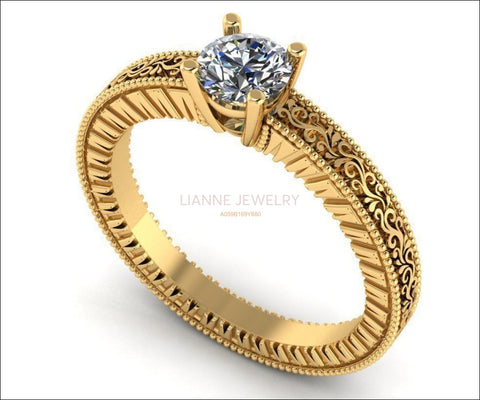 Diamond Solitaire Ring Unique Engagement ring Milgrain Filigree Ring 18K Yellow Gold Engagement Gift - Lianne Jewelry