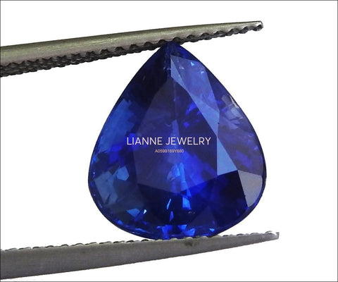 Pear Sapphire Loose Gemstone Blue Sapphire  Certified by GIA 6.45 ct Pear Shape Genuine Sapphire for Gemstone Collectors - Lianne Jewelry