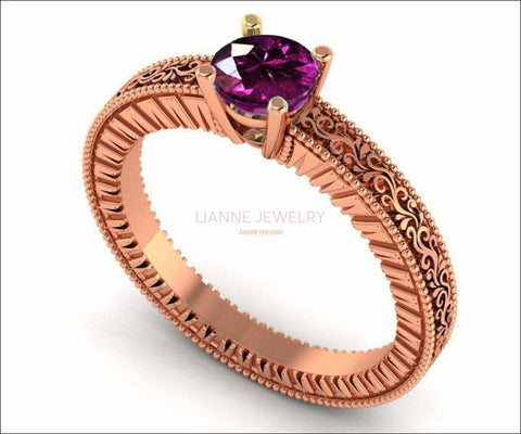 18K Rose Gold Solitaire Filigree Amethyst Ring Unique Purple Amethyst Engagement Ring  Milgrain Ring Ring - Lianne Jewelry