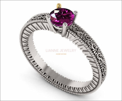 18K White Gold Solitaire Filigree Amethyst Ring Unique Purple Amethyst Engagement Ring  Milgrain Ring Ring - Lianne Jewelry