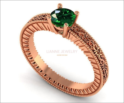 18K Rose Gold Solitaire Filigree Emerald Ring Unique Milgrain Engagement Ring - Lianne Jewelry