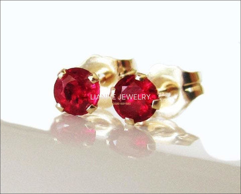 14K gold Ruby Stud Earrings, Lab Ruby, Fine Quality Red, Beautiful Girls Gift for Christmas or Birthday - Lianne Jewelry