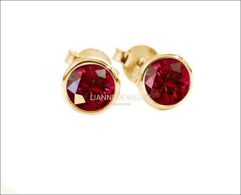 Genuine Ruby Earrings Tulip Studs Bridesmaid Gift Genuine Ruby stud Earrings 4 mm Earring Yellow gold 18K Gold - Lianne Jewelry