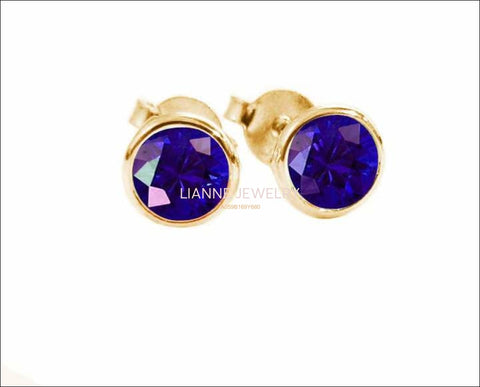 Round Blue Halo Stud Earrings Sapphire Bezel Stud Earrings 14K Gold Earrings 4mm - Lianne Jewelry