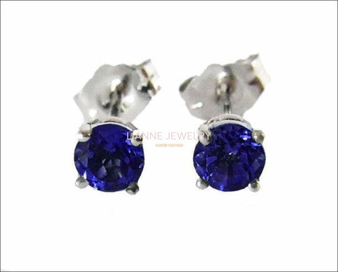 14K White gold Blue Stud Earrings, 4mm Lab Sapphire Christmas Gift Earring Jewelry - Lianne Jewelry