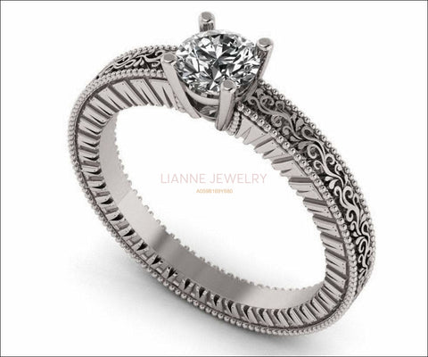 Diamond Solitaire Ring Unique Engagement ring Milgrain Filigree Ring 18K White Gold Engagement Gift - Lianne Jewelry