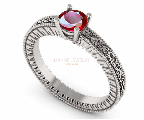 Solitaire Filigree Ruby Ring Unique Ruby Engagement ring Milgrain Ring 18K White Gold Ring - Lianne Jewelry