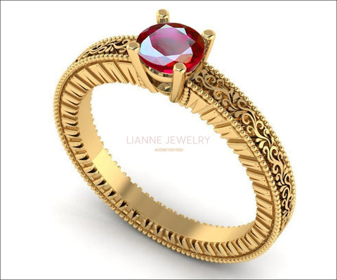 Solitaire Filigree Ruby Ring Unique Ruby Engagement ring Milgrain Ring 18K Yellow Gold Ring - Lianne Jewelry
