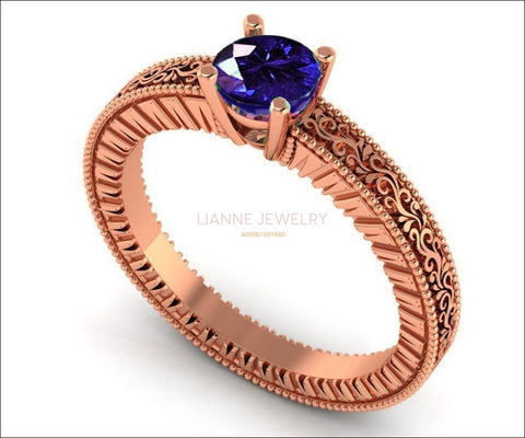 Rose Gold Solitaire Filigree Sapphire Ring, Unique Blue Sapphire Engagement ring, Milgrain Ring 18K Gold - Lianne Jewelry
