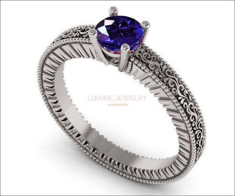 White Gold Solitaire Filigree Sapphire Ring Unique Blue Sapphire Engagement ring Milgrain Ring 18K Ring - Lianne Jewelry