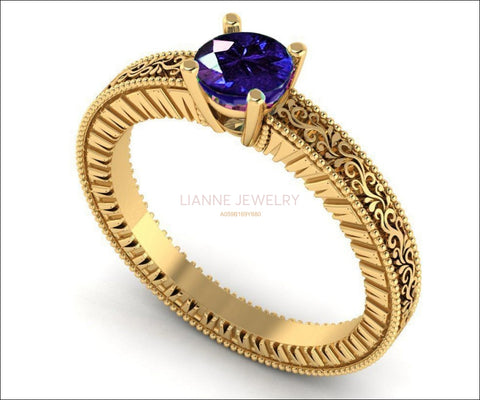 Sapphire Solitaire Filigree Ring, Unique Blue Genuine Sapphire Engagement ring Milgrain Ring 18K Yellow Gold Ring - Lianne Jewelry