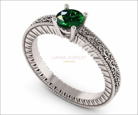 18K White Gold Solitaire Filigree Emerald Ring Unique Milgrain Engagement Ring - Lianne Jewelry