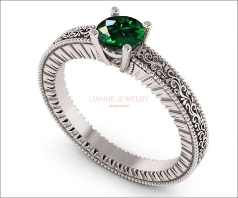Silver Emerald Solitaire Engagement Ring Filigree Ring Unique Emerald Ring Milgrain Ring - Lianne Jewelry