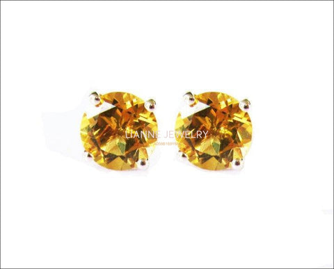 Topaz Stud Earrings Yellow Earrings Yellow Studs bridesmaid Gift Stud Earrings 7mm Yellow or White Gold Love Gift Birthday Gift - Lianne Jewelry