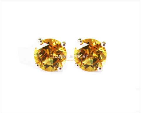 Yellow Earrings Topaz Stud Earrings Yellow Studs bridesmaid Gift Stud Earrings 6mm White Gold Love Gift Birthday Gift - Lianne Jewelry