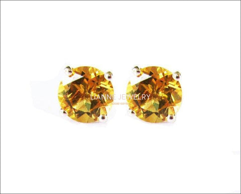 Big Topaz Earrings Yellow Studs bridesmaid Gift Stud Earrings 8mm Yellow or White Gold Love Gift Birthday Gift - Lianne Jewelry