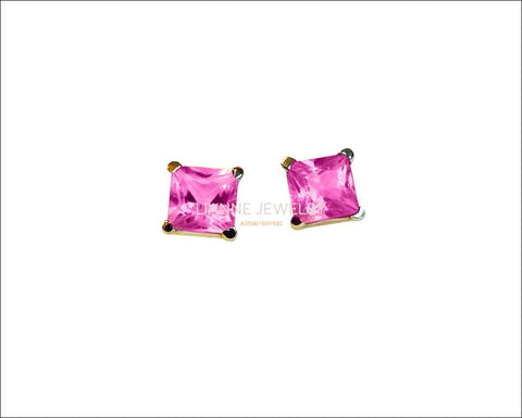 14K Gold Pink Studs Princess Earrings Girls Pink Sapphire Square Earrings Studs Minimalist Earrings Earrings