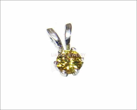 SALE 50% Off - Diamond Pendant Intense Yellow Diamond 14K White Gold - Lianne Jewelry