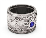 Heavy Dragon Men's Sapphire Silver Ring, Large Engraved Ring - Lianne Jewelry