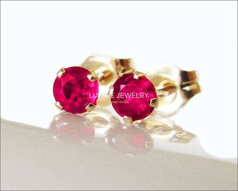 Ruby Stud Earrings 3 mm Studs Gemstone 14K Yellow or White Gold Earrings  Wedding Jewelry Anniversary Gift - Lianne Jewelry