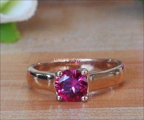 Liquidation, Engagement Ring Solitaire Ring Boho ring Synthetic Red Pink stone Silver July birthstone - Lianne Jewelry