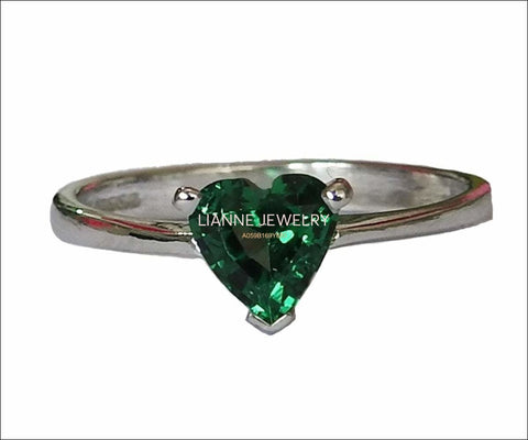 50% Liquidation SALE, Solitaire Heart Ring Silver Emerald Ring Green Heart Ring Unique Engagement Ring Lovers Ring - Lianne Jewelry