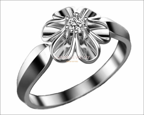 18K White gold Flower Ring Solitaire Flower Ring Leaves Ring Promise Ring Unique Engagement Ring - Lianne Jewelry