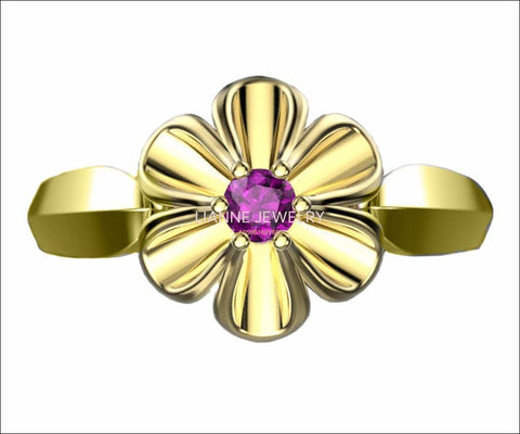 18K Yellow gold Flower Ring with Amethyst Solitaire Flower Ring Leaves Ring Promise Ring Unique Engagement Ring - Lianne Jewelry
