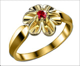 18K Yellow gold Flower Ring with Ruby Solitaire Flower Ring Leaves Ring Promise Ring Unique Engagement Ring - Lianne Jewelry