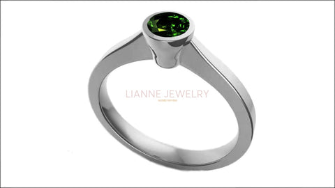 Emerald Solitaire Ring Bezel set 14K White Gold Emerald ring Green Ring Unique Engagement Ring Minimalist Ring - Lianne Jewelry