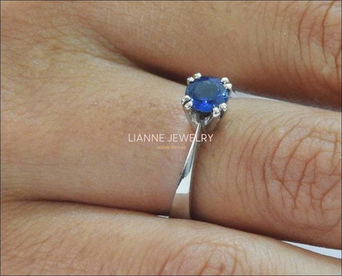 Sapphire Ring Engagement Ring Solitaire Ring 14K White gold September Birthstone - Lianne Jewelry