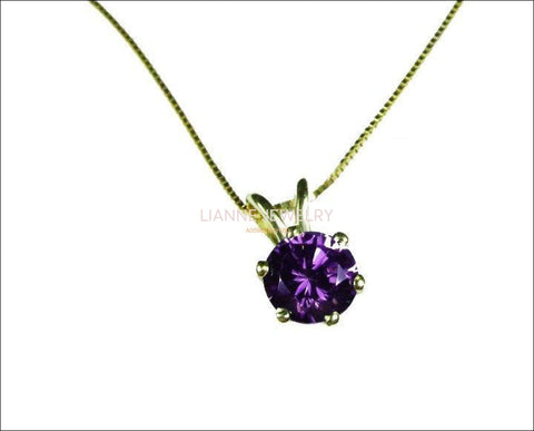 Genuine Amethyst Pendant, Round 6 mm Pendant, 14K Yellow gold Pendant including Chain,  Minimalist pendant - Lianne Jewelry