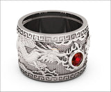 Ruby Dragon Ring with Ruby Wide Silver Mens Ring Genuine Ruby Heavy Ring Gift for Man Large Engraved Dragon Band - Lianne Jewelry