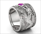 Heavy Amethyst Silver Dragon Mens Ring Genuine Purple Gemstone Ring Gift for Man Large Big Green Engraved Ring - Lianne Jewelry