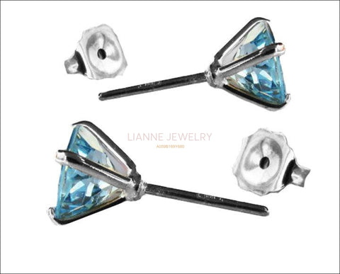 Topaz Stud Earrings, 14K White gold, 7 mm Round Earrings - Lianne Jewelry