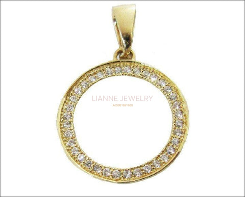 Clearance SALE 50% Off, 14K Circle Pendant, 36 Diamonds, 36th Anniversary Pendant, Celtic Pendant, Round Pendant - Lianne Jewelry