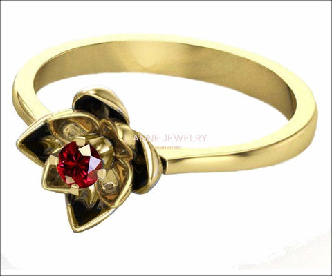 Lotus Ring, Gold Ruby Flower Ring Lotus Ring Art Nouveau unique Engagement ring Flower ring Red Floral ring 18K Yellow gold - Lianne Jewelry