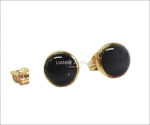 14K Stunning Onyx Stud Earrings Black Earrings Girls Earrings Birthday gift Onyx Earrings Cabochon Earrings Minimalist Earrings 6mm Round - Lianne Jewelry