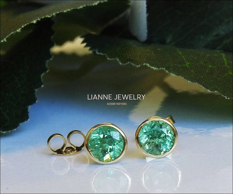 Solid Gold Round Emerald Studs Bezel set 6.5mm, Natural Emeralds Earrings, Super Green Sparkle - Lianne Jewelry
