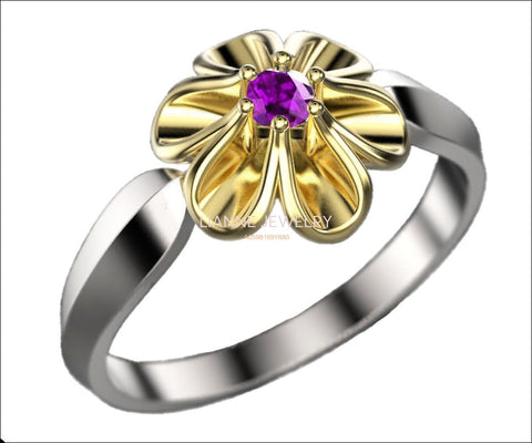 2 Tone Flower Ring with Amethyst Leaves Ring Promise Ring Unique Engagement Ring Floral ring Birthday Gift For Her in 18K Gold - Lianne Jewelry