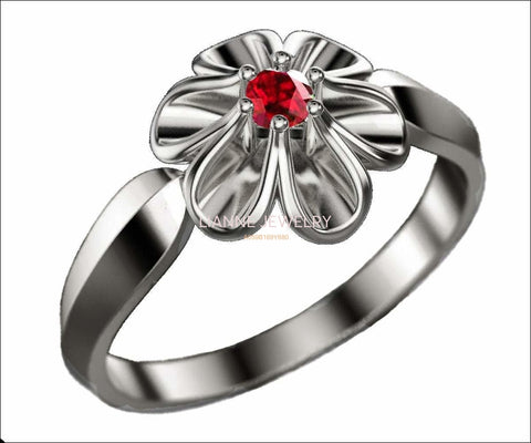 Leaves Engagement Ring 18K White gold Flower Ring with Ruby Solitaire Flower Ring Leaves Ring Promise Ring Unique Engagement Ring - Lianne Jewelry
