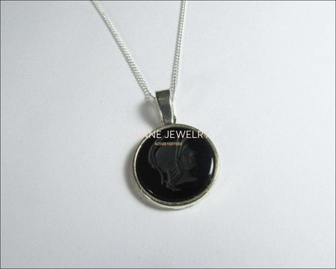 Black Onyx Pendant 18mm Tibetan Silver Antique Silver including chain - Lianne Jewelry