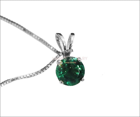 "Girlfriend gift Necklace Emerald Pendant 3mm 3.5mm 4 mm 4.5mm 5 mm in 14K gold including 16.5"" chain  Minimalist pendant - Lianne Jewelry"